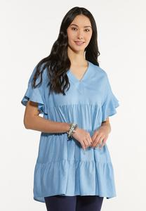 Plus Size Tiered Linen Tunic