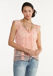 Pink Crochet Tank