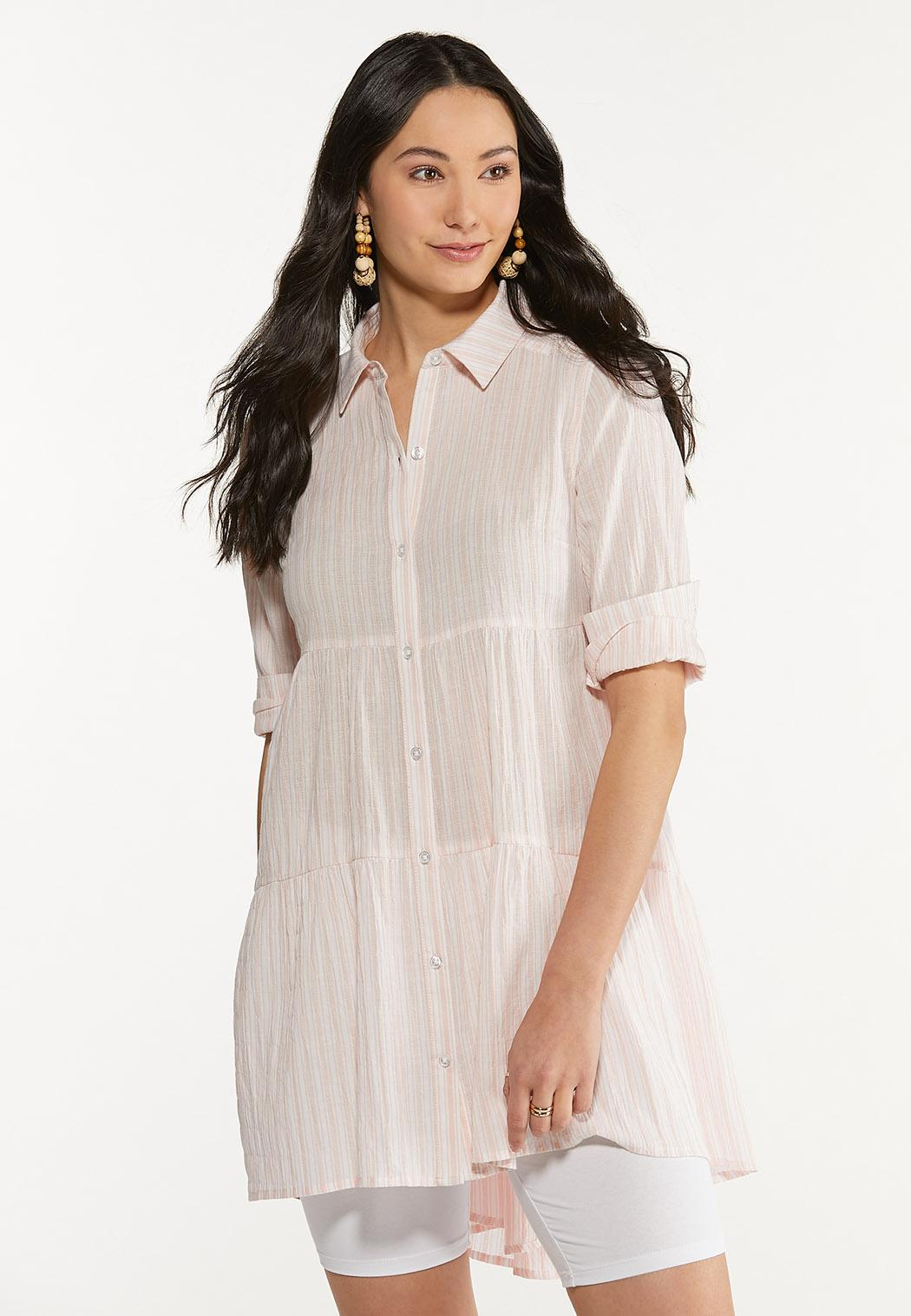 Plus Size Striped Tiered Tunic