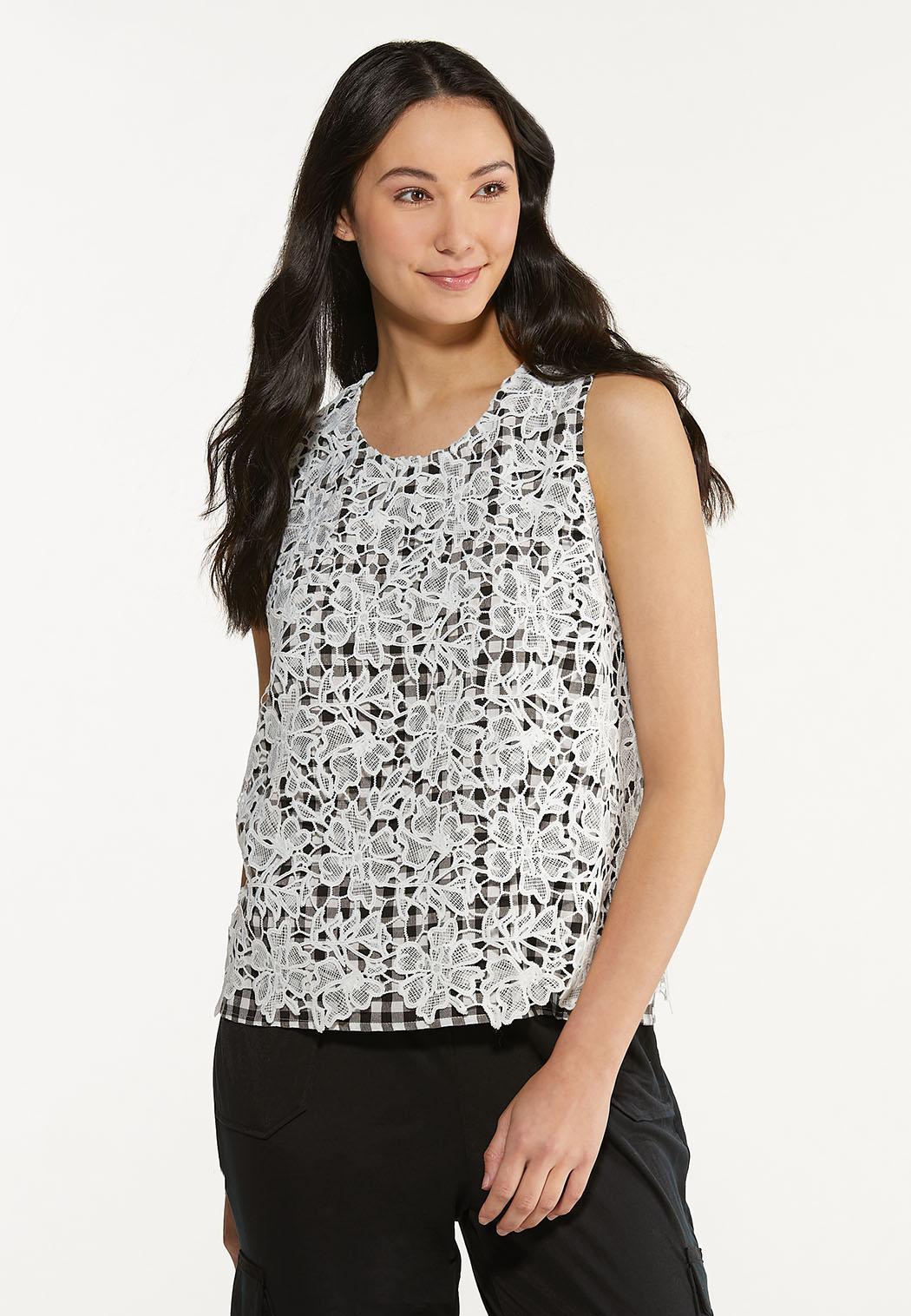 Plus Size Crochet Gingham Top