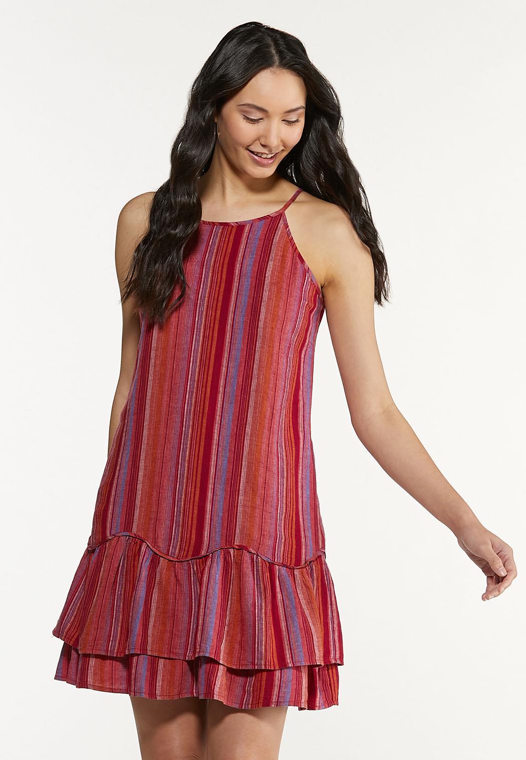 Striped Linen Ruffled Dress