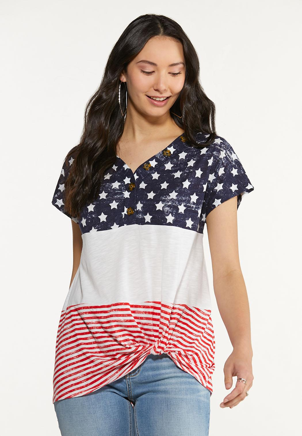 Plus Size Knotted Stars And Stripes Tee