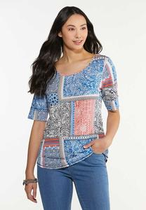 Plus Size Paisley Patchwork Tee