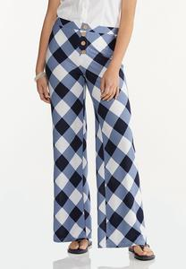 Petite Navy Gingham Pants