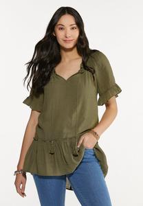 Plus Size Olive Ruffled Tunic
