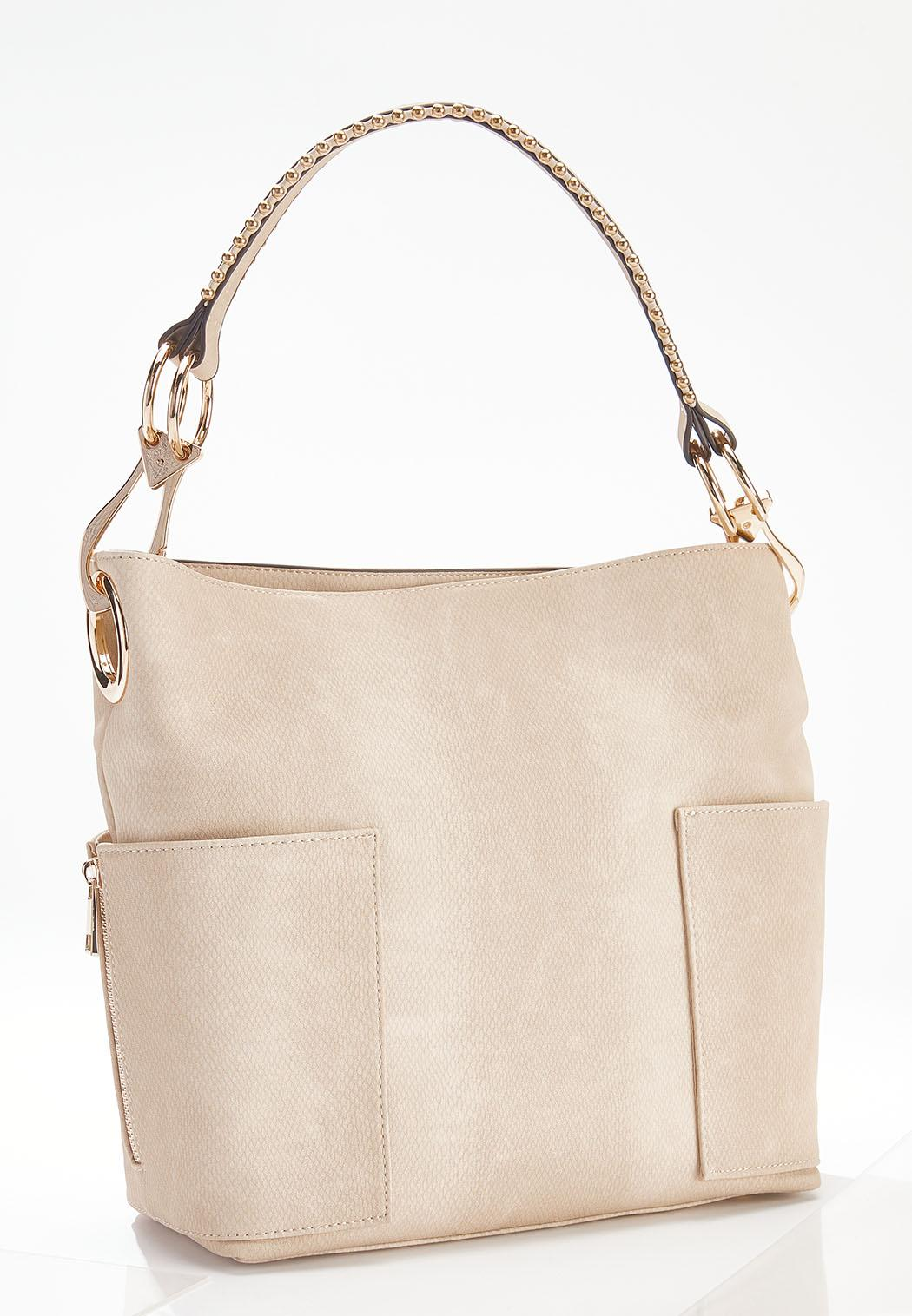 Tonal Snakeskin Hobo Handbag