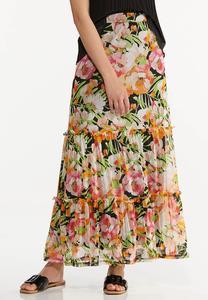 Mesh Floral Maxi Skirt