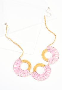 Raffia Circle Bib Necklace