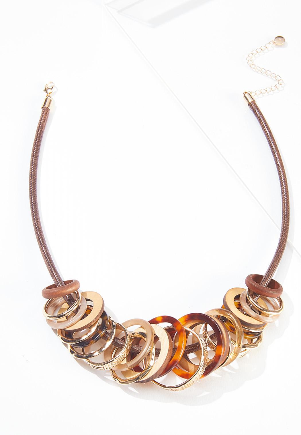 Mixed Circle Cord Necklace