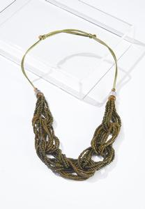 Olive Braided Bead Necklace