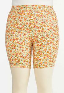 Plus Size Floral Biker Shorts