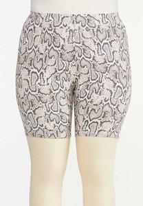 Plus Size Snakeskin Biker Shorts
