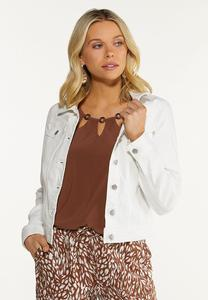 Plus Size White Denim Jacket