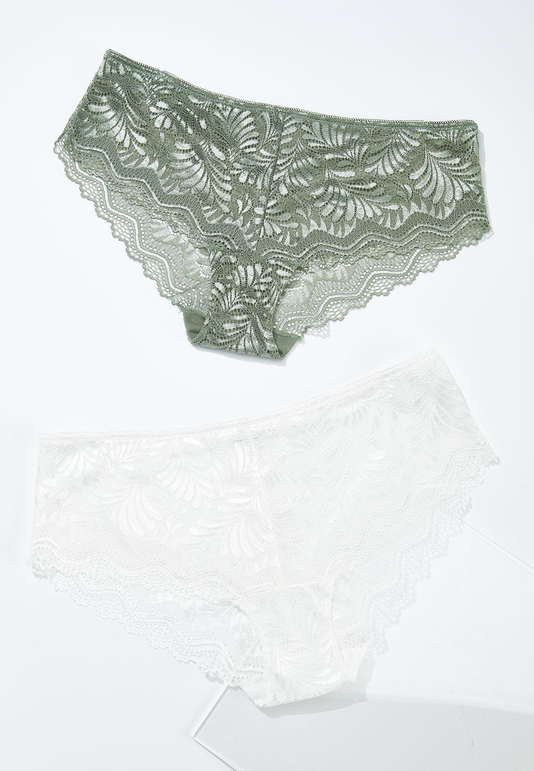 Plus Size Leaf Lace Bikini Panty Set