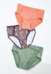 Plus Size Solid Snakeskin Panty Set