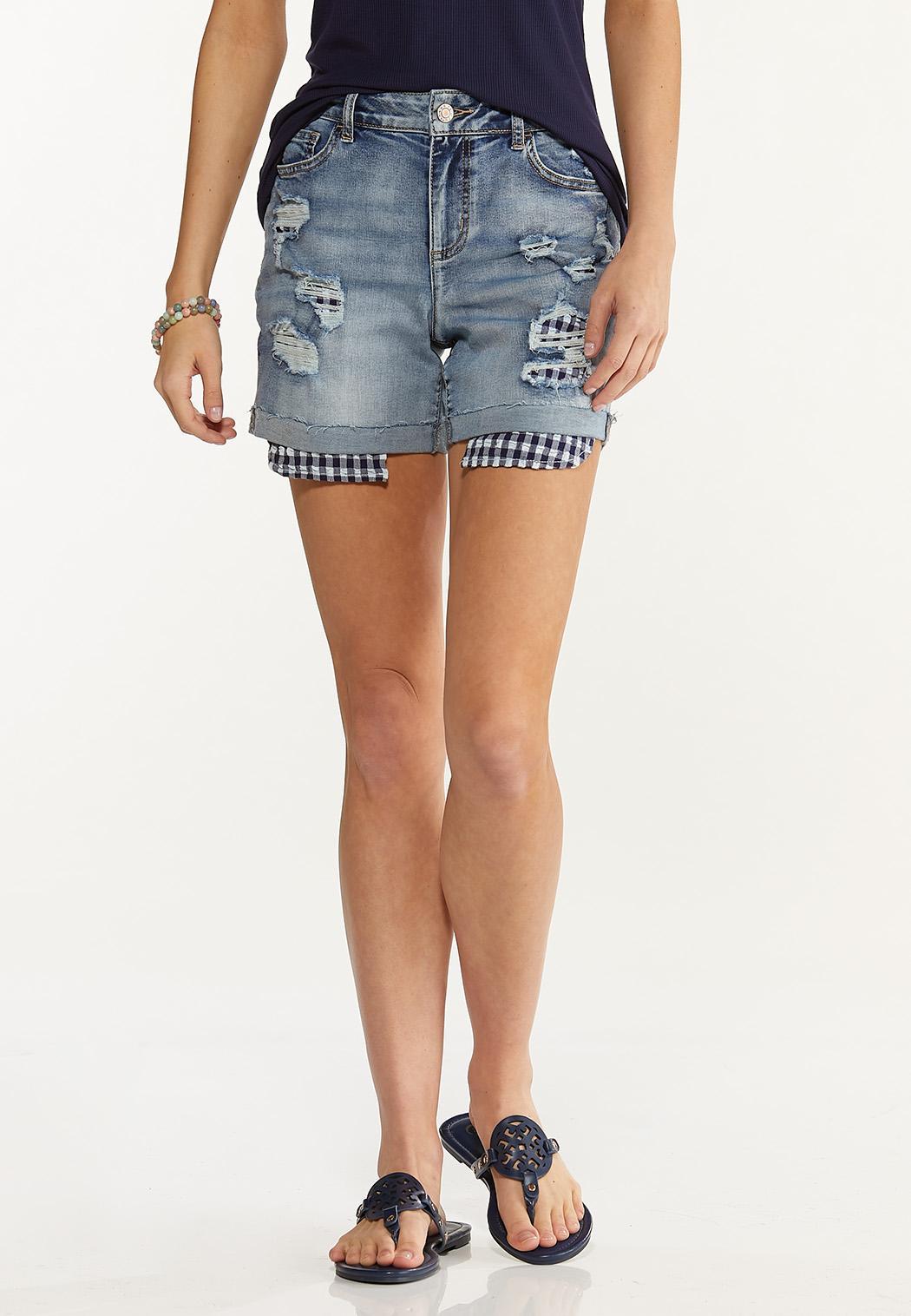 Distressed Gingham Denim Shorts
