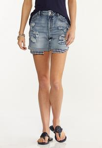 Distressed Gingham Denim Shorts