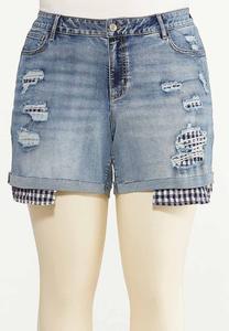 Plus Size Distressed Gingham Denim Shorts