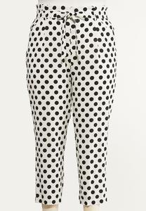 Plus Size Polka Dot Linen Ankle Pants