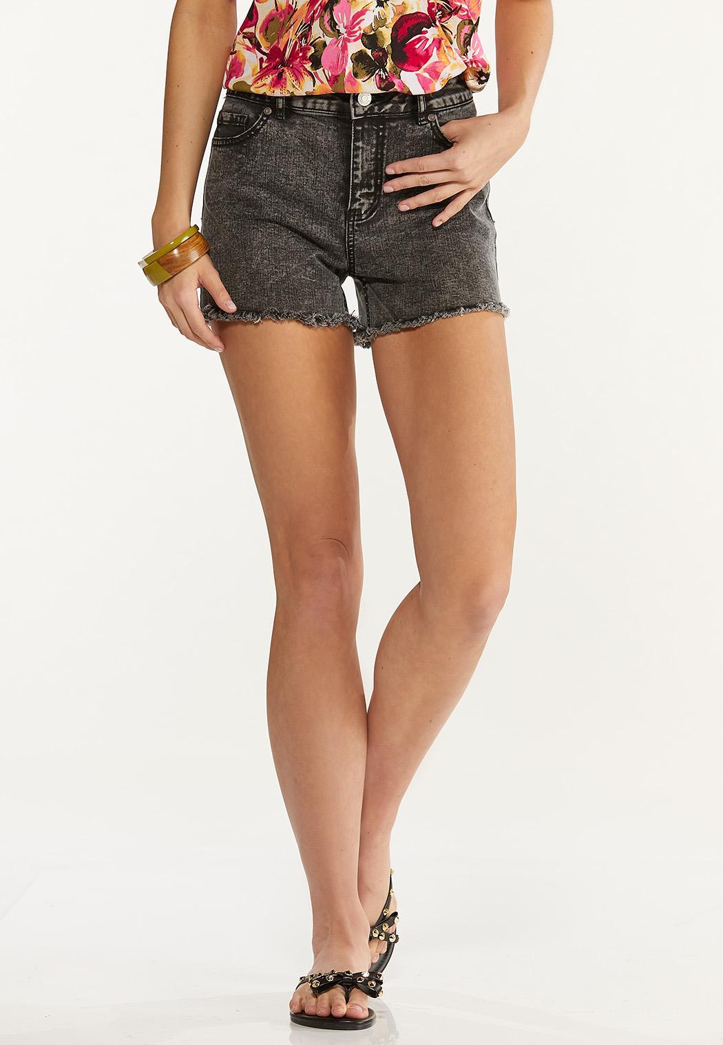 Black Acid Wash Denim Shorts