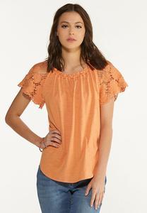 Plus Size Crochet Flutter Sleeve Top