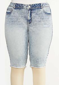 Plus Size Distressed Acid Wash Shorts