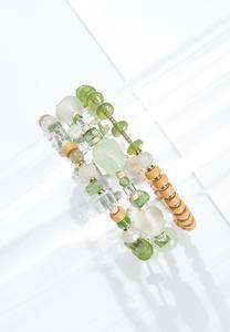 Green Bead Coil Bracelet