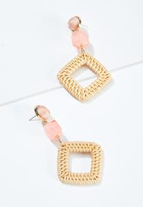 Raffia Square Lucite Bead Earrings