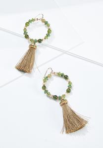 Beaded Hoop Tassel Earrings