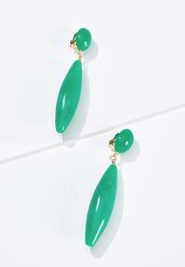 Green Marble Linear Earrings