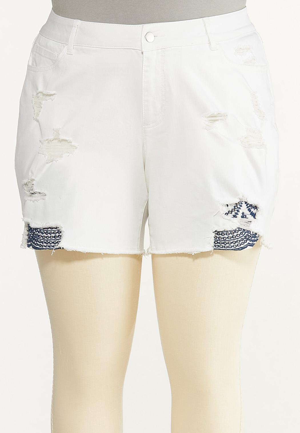 Plus Size Hint Of Eyelet Denim Shorts