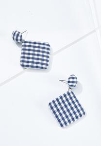 Navy Gingham Earrings