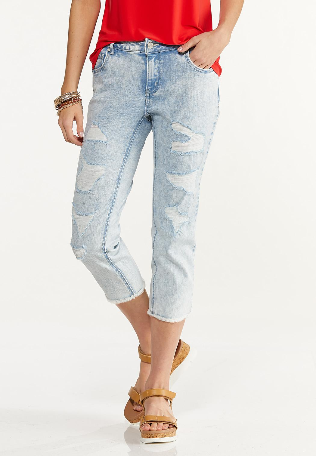 Cropped Distressed Girlfriend Jeans
