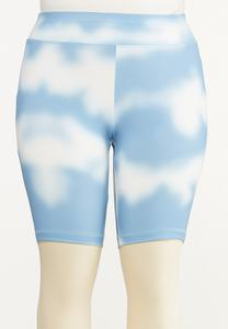 Plus Size Cloud Tie Dye Biker Shorts