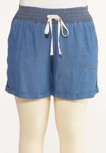 Plus Size Smocked Chambray Shorts