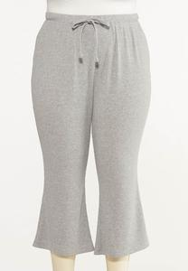 Plus Size Cropped Ribbed Lounge Pants