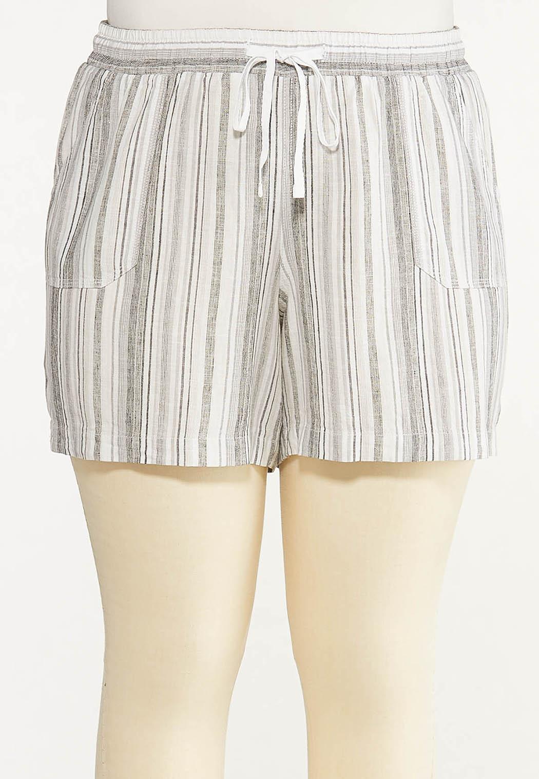Plus Size Pepper Stripe Linen Shorts