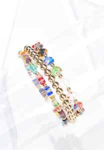 Multi Glass Stretch Bracelet