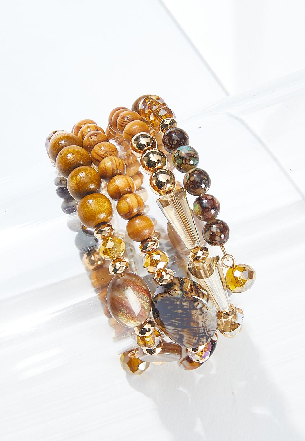 Mixed Wood Bead Coil Bracelet