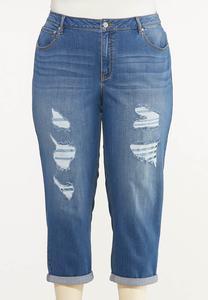 Plus Size Cropped Distressed Boyfriend Jeans