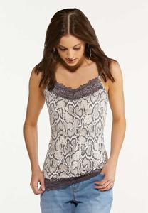 Plus Size Snakeskin Lace Cami