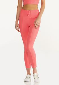 Coral Ribbed Leggings