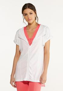 Plus Size White Zippered Hoodie