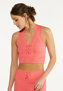 Plus Size Coral Ribbed Sports Bra