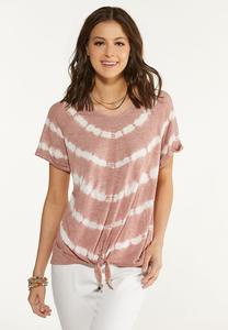 Plus Size Knotted Tie Dye Lounge Top