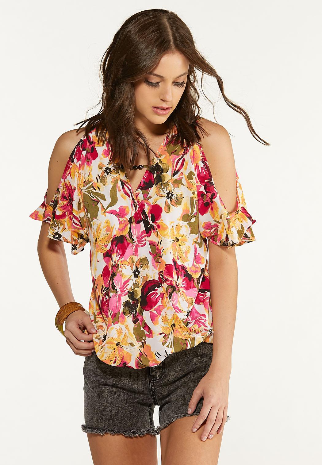 Plus Size Raspberry Floral Cold Shoulder Top