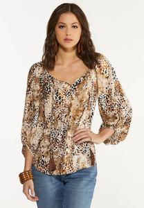 Plus Size Tasseled Leopard Poet Top