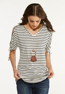 Plus Size Striped Cold Shoulder Top