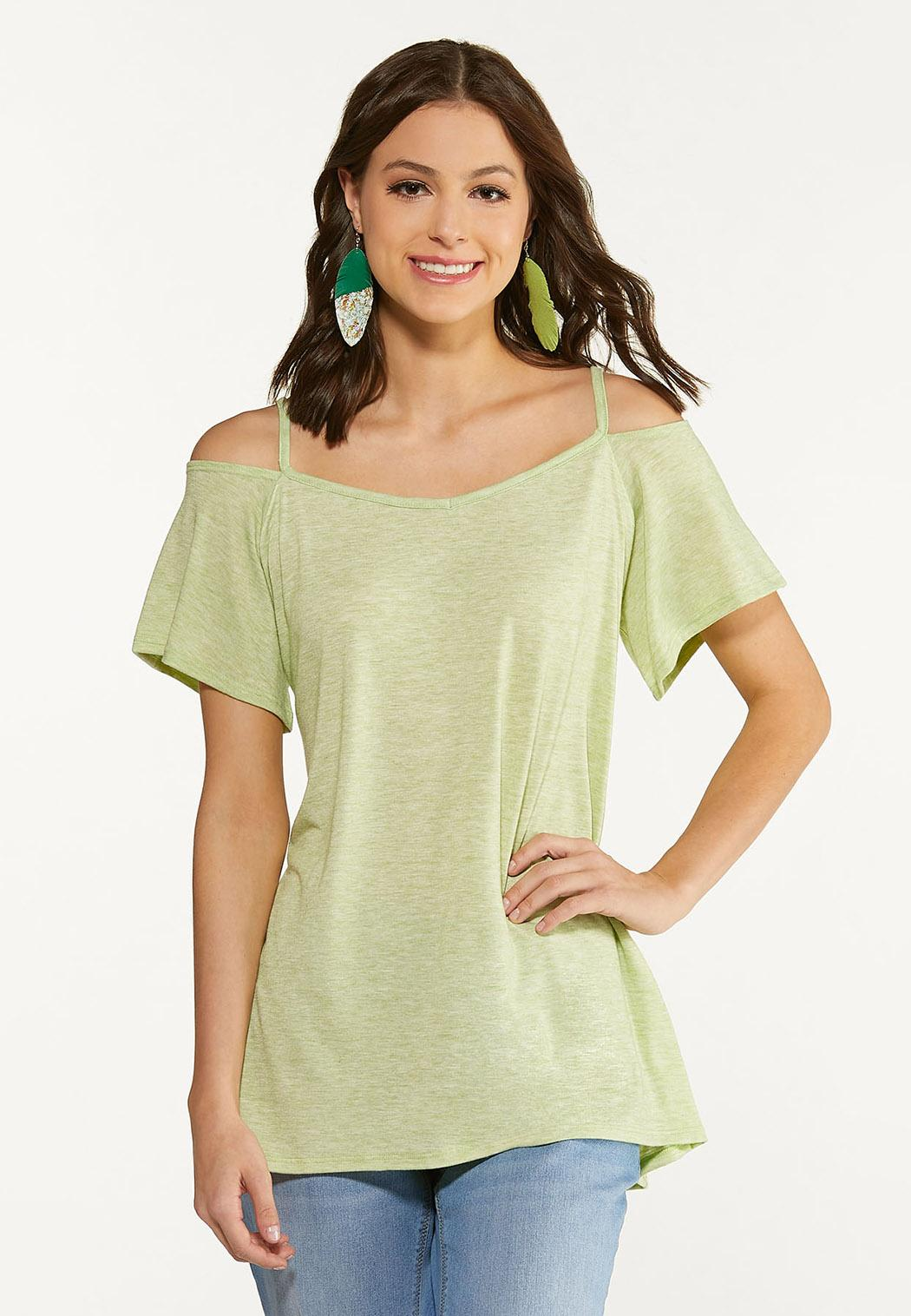 Plus Size Casual Cold Shoulder Tunic