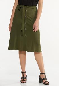 Plus Size Olive Midi Skirt